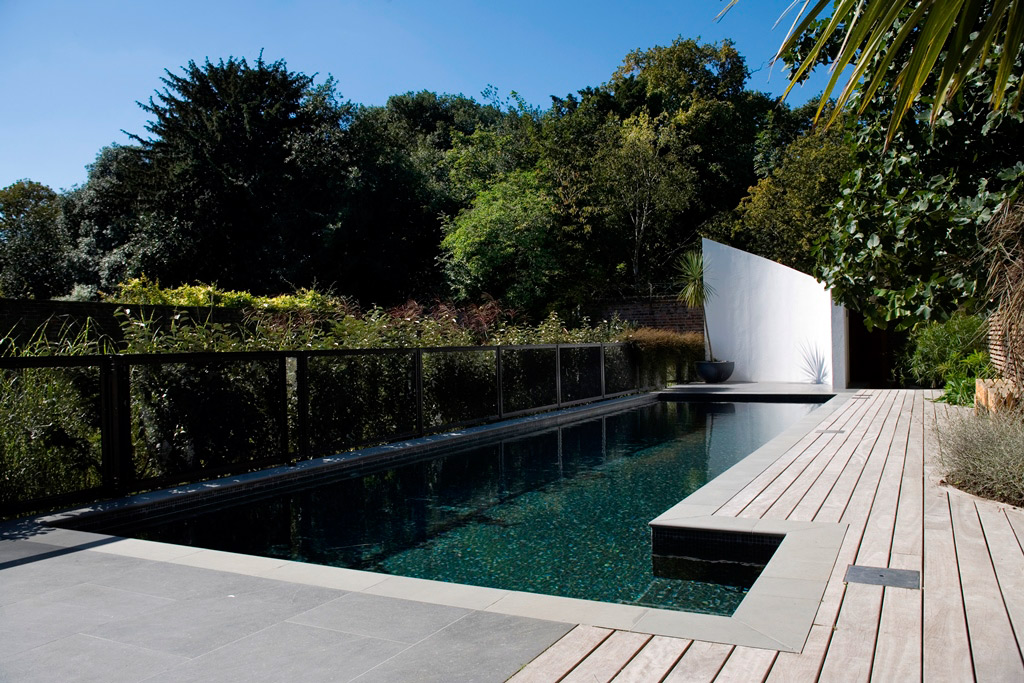Feature Wall and Deck for a London Outdoor Swimming Pool