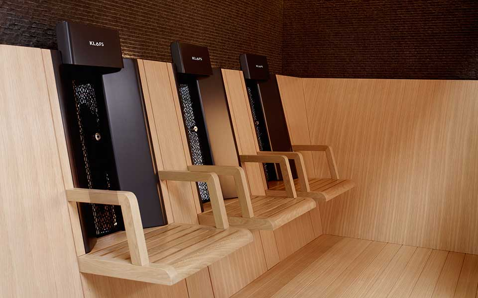 Infrared seats for sauna by KLAFS at Guncast
