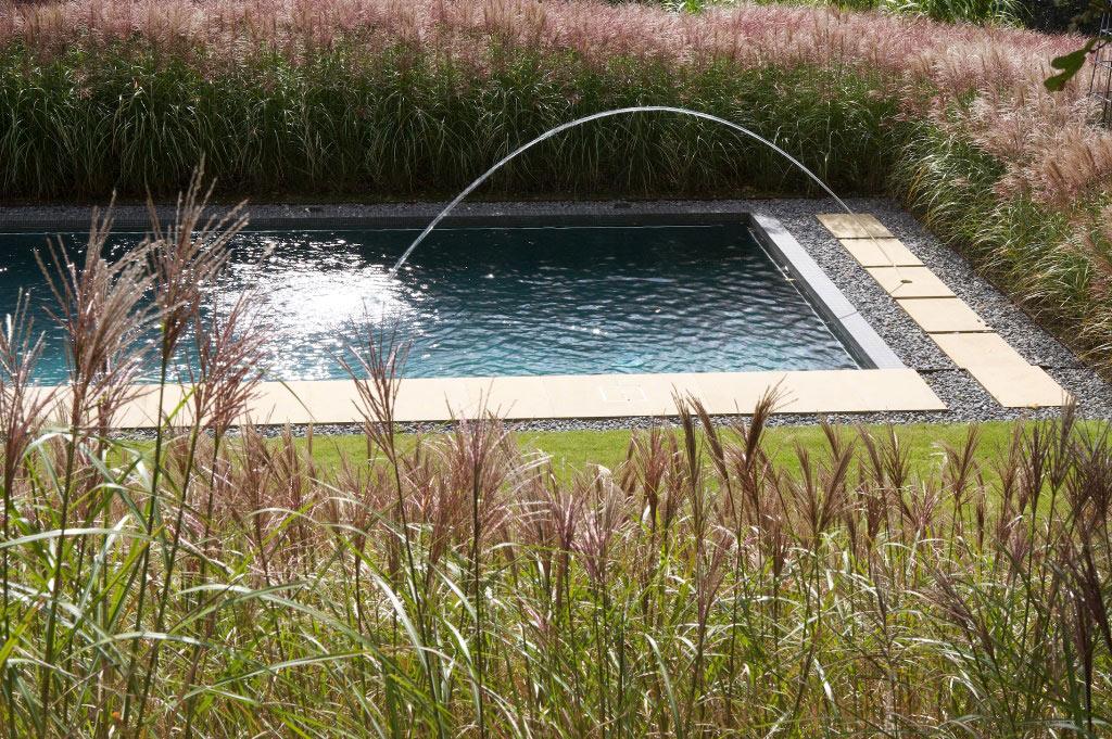Открытый плавательный бассейн с ландшафтным садом в Суррее